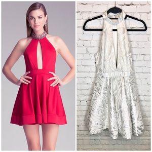 Bebe $269 Plunge Cutout Peplum Silver Dress